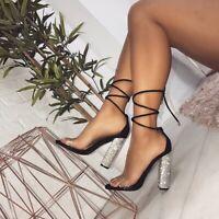 11CM Big Size Women Heeled Sandals Bandage Ankle Strap Pumps Super High Heels