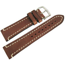 24mm Hirsch Liberty Mens Brown Leather Contrast Stitched Watch Band Strap