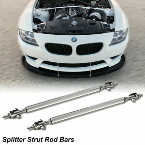Adjustable Chrome Front Bumper Lip Splitter Strut Rod Tie Support Bars For BMW