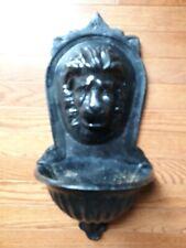 Gorgeous Vintage Cast Metal Lion Head Garden Lavabo Wall Planter Font