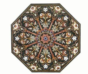 """48"""" Green marble coffee table top semi precious stone floral inlay work"""