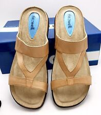 Fitzwell Natural Tan Comfort Leather Sandals Shoes Cork Soles Dustbag 8 1/2 M