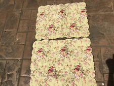 (2)~Quilted Pillow Shams~Pink/Green/Red~Roses~Greenery-Standard-Tie Backs-