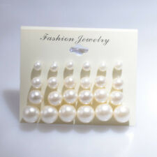 Hot Women Jewelry White Pearl Stud Earrings 6mm/8mm/10mm/12mm Mix Size 12 Pairs