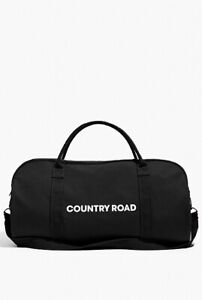 NEW - Country Road Bag  ZIP CANVAS LOGO TOTE - Black - 100% Authentic