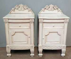 Two Napoleon Louis Antique White Solid Mahogany Bedside Cupboards Matching Pair
