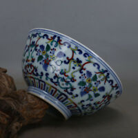 China antique Porcelain Qing blue white doucai hand painting flower bowl