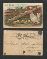 1910 EASTER GREETINGS { CHICKEN + CHICKS WALKING DOWN LADDER } POSTCARD