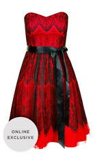 "BNWT CITY CHIC ""Bradshaw"" Dress - A-Line Black Red Lace Satin Belt Party - XS/14"