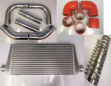 """Front Mount Intercooler Kit FMIC 76mm 3"""" RED HOSES 600x300x76 Core T-Clamps"""