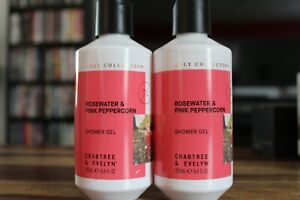 New- 2 Pack Crabtree Evelyn Rose Water & Pink Peppercorn Shower Gel 8.4 Oz Each