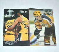 1985-86 NHL NBA Los Angeles Lakers Kings Pocket Schedule Basketball Hockey