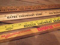 Vintage LOT Wood Yard Sticks w/ Advertising - CHEVROLET DEALERS & OLDS DEALER