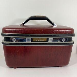 Vintage Samsonite Train Makeup Case  Burgandy Maroon