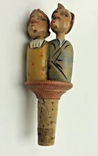 Vintage Anri Bottle Stopper Cork Hand Carved and Painted Kissing Couple
