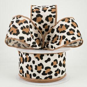 "Leopard Print Cream 2.5"" Wire Ribbon (2 LENGTHS) Animal Print*Wild Cat*Feline"