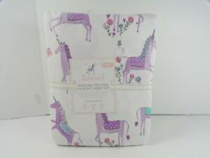 Pottery Barn Kids Lavender Flannel Magical Unicorn Organic Sheet Set Twin #2277