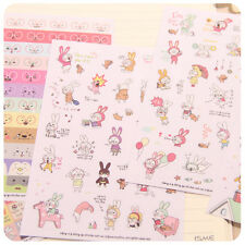 6 Sheets Rabbit Diary Book Sticker Scrapbook Calendar Notebook Label Cute Lovely