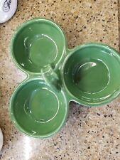 Williams Sonoma Ceramic GREEN 3 Section Bowls w Center Ribbon Handle
