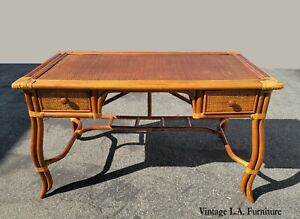Vintage French Country Tiki Palm Beach Style Bamboo Rattan Writing Desk wDrawers