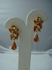 VINTAGE 1980's GOLD ORANGE RHINESTONE DANGLE PIERCED STATEMENT EARRINGS  (X-26)