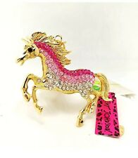 Betsey Johnson Necklace Horse Pink Ombré Gold Mare Horse Crystals