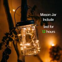 Solar Powered Mason Jar Lid Lights 20 LED Warm Fairy String Light Garden Decor