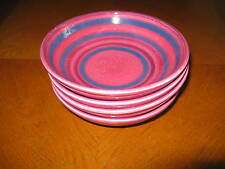 Set of 4 Baldelli Italy Midcentury Pottery Soup Bowls Pink Blue Concentric Ring