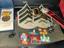 Vietnam Service Medal Set W/Ribbons Patches , Badges , Stripes , Garrison Hat
