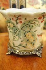 Oriental Crackled Porcelain Planter Pot, Orchird Pot, Antiqued Brass Base( c3)