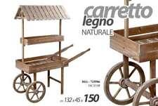 CARRETTO IN LEGNO NATURALE ARREDAMENTO CASA GIARDINO 132*50*150 CM HIA-725586