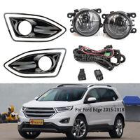For Ford Edge 2015-2018 Front Bumper Bezel Fog Light Lamps Harness Switch Kit