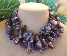 AMETHYST CRYSTAL DOUBLE NECKLACE PURPLE BEADS BIG CHUNKY GEMSTONES ROUGH CUT GEM