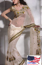Designer Net & Embroidered Saree for Eid Wedding Party Indian Bollywood Sari