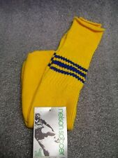 VTG Nelson Soccer Socks Adult 6-8 Youth 6-12 NOS 70's Yellow Blue Over the Calf