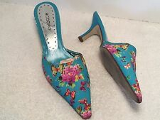 BCBGirls Floral Pointy Shoes Butterflies Flowers Teal Leather Fabric Heels 7.5