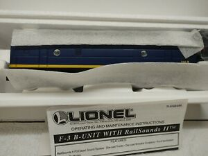 Lionel 6-18122 Santa Fe F3 Blue/Yellow Non-Powered B-Unit w/RS II NIB
