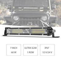 7inch LED Light Bar 60W Offroad Slim Work Single Row Flood Truck ATV SUV Fog 4WD