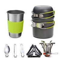 Outdoor Camping Hiking Tableware Cookware Kit Cooking Bowl Pot Pan Gas Stove Set