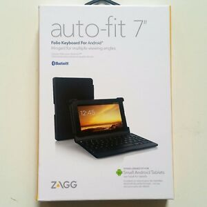 NEW ZAGG Folio Case Hinged with Bluetooth Keyboard Android Tablets 7 in Auto Fit