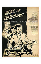 motortcycle Poster 11x17 vtg ad Indian Motorcycles Springfield Mass