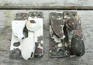 2 sets of Vintage Brass Sash Window Catch Lock Fastener Latch & screws Antique