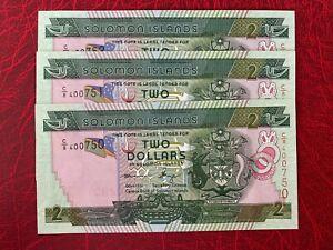 3 Pieces Solomon Islands 2 Dollars ** UNC **