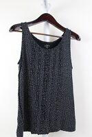 Ann Taylor Stretch Rayon Blend Black W/ White Polka Dots Sleeveless Top Size PL