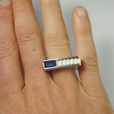 Stunning Emerald Cut Blue Sapphire Men's Modernist Handmade 925 Pure Silver Ring
