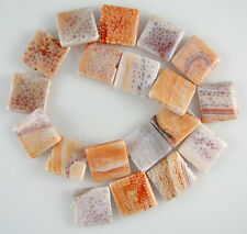 "20mm crab fire agate flat square beads 16"" strand"