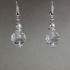 Clear crystal silver stardust short drop dangle earrings wedding bridesmaid gift