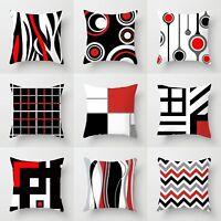 "18"" Geometric Black White Red Throw Pillow Case Waist Cushion Cover Home Decor"