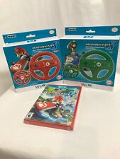 Wii Mario Kart 8 Video Game + Two Wii U Wheel Attachments, Red & Green, New