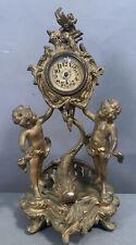 Ca.1900 Antique Art Nouveau Figural Dolphin Koi Fish Putti Statue Boudoir Clock